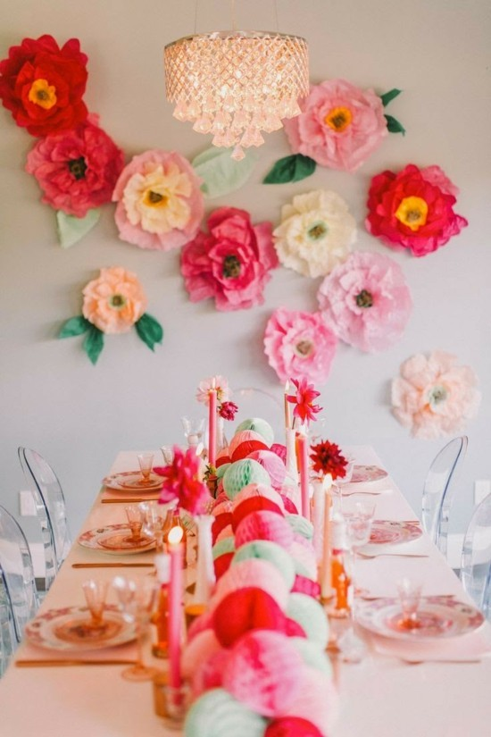 wall decoration ideas party colored paper flowers
