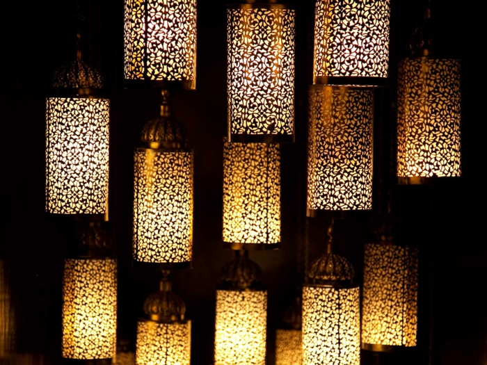 oriental lamps filigree floral pattern cylindrical