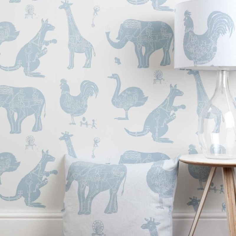 Wallpaper nursery animal pattern in blue