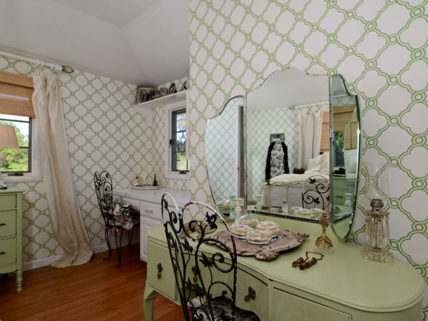 wallpaper country style bedroom furnish green interior