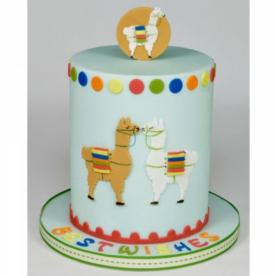 child birthday cake with fondant birthday decoration lama pie
