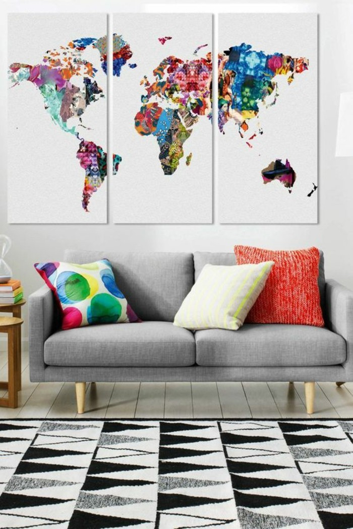 Living room wall decoration with abstract world cold