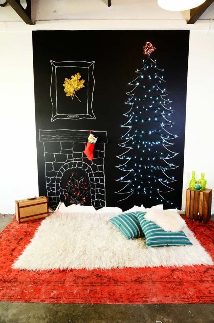 Christmas tree artificially artificial Christmas tree test by wall wall stickers drawing