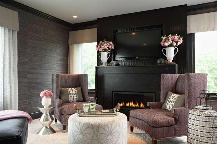 walls shape cozy living room black accent fireplace