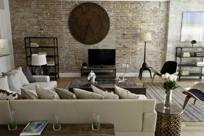 deco living room vintage wall clock brick wall