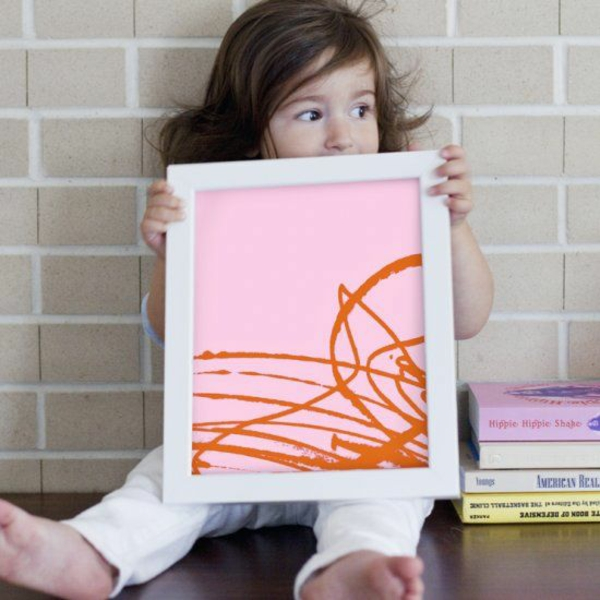 DIY decoration with children's drawings when children paint