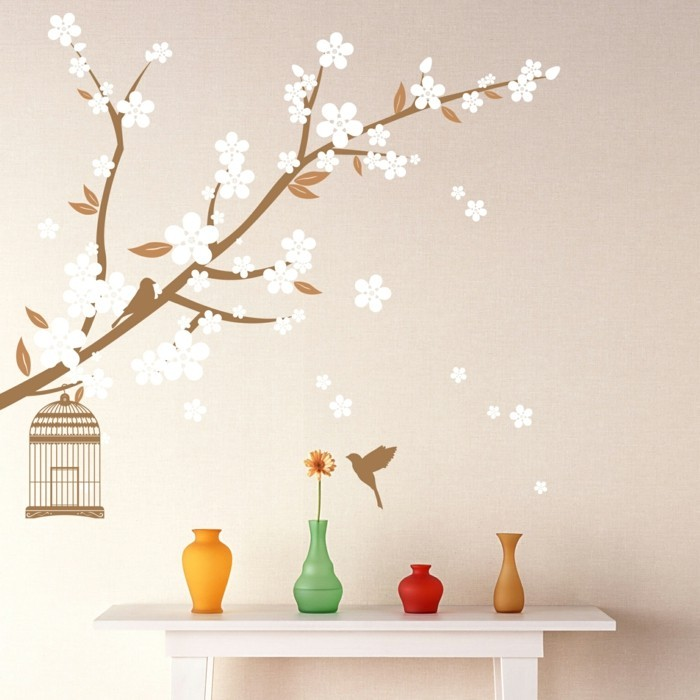 wall painting flowers cream wall paint colored deco vases