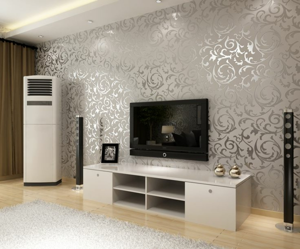 living room wallpaper white carpet