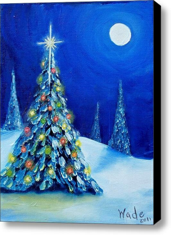 design modern canvas pictures print blue night christmas tree