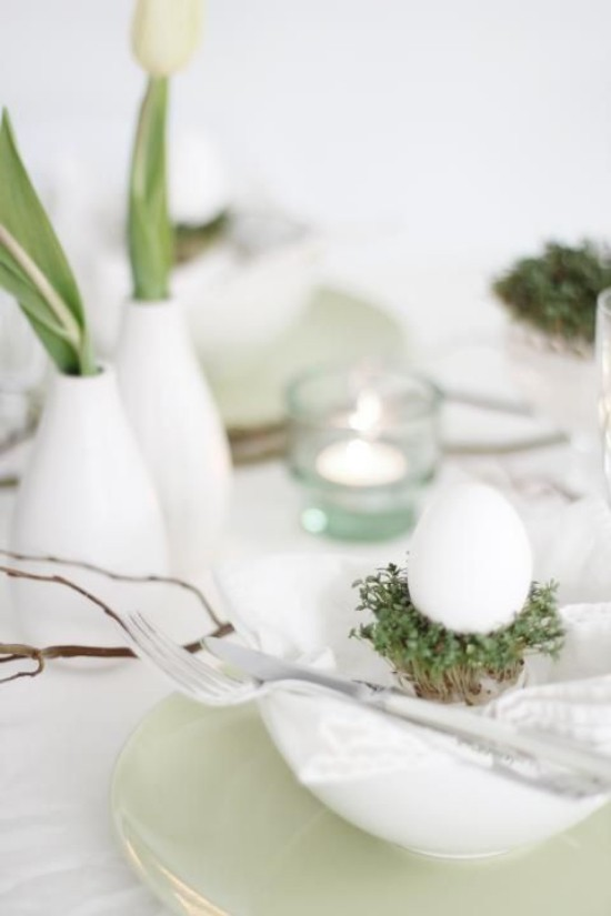 Easter table decoration in a minimalist style