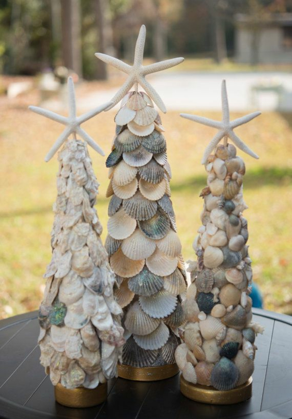 christmas decoration tropical style fir trees from shells