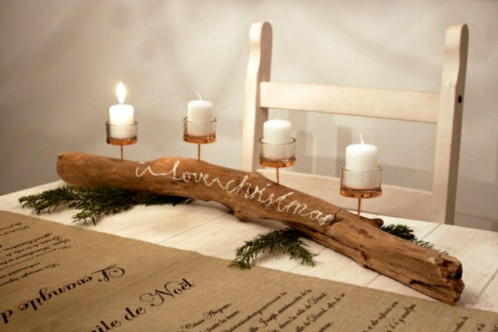 diy advent wreath branch with inscription