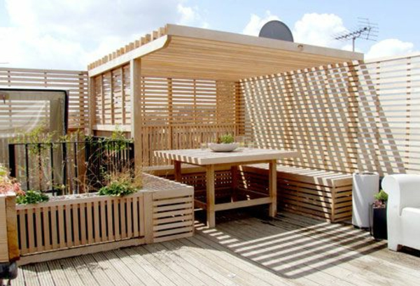wooden terrace roof beautiful ambience