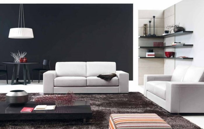 walls design living room wall design white sofas black accent wall