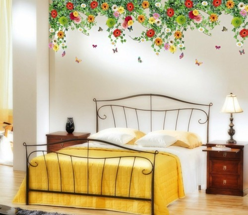 patterned wallpaper yellow blue bed