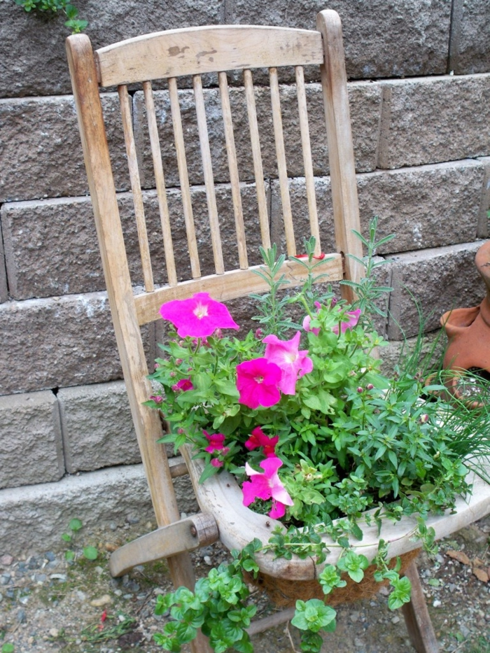 garden beautify beautiful garden ideas old chair plant container