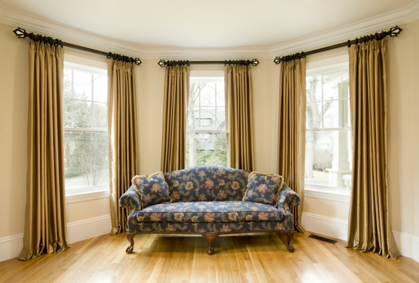 Living room curtains in gold