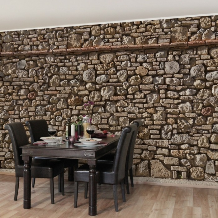 stones motif as kitchen decor wall design