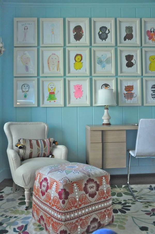 DIY decoration with children's drawings living room wall decorating