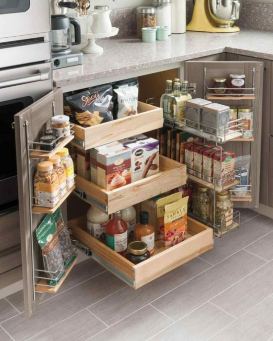 Shelving systems set up a small kitchen