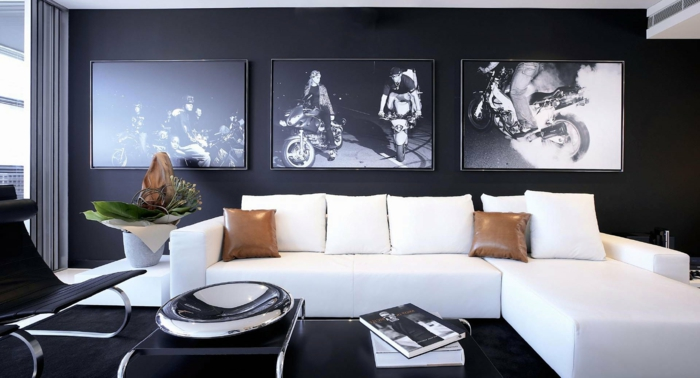 living room decoration white corner sofa black walls wall decoration