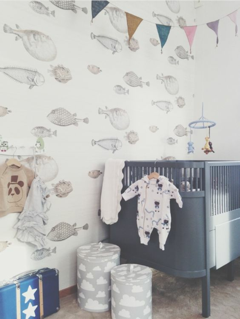 Pattern wallpaper fish wallpaper nursery room design baby room furniture