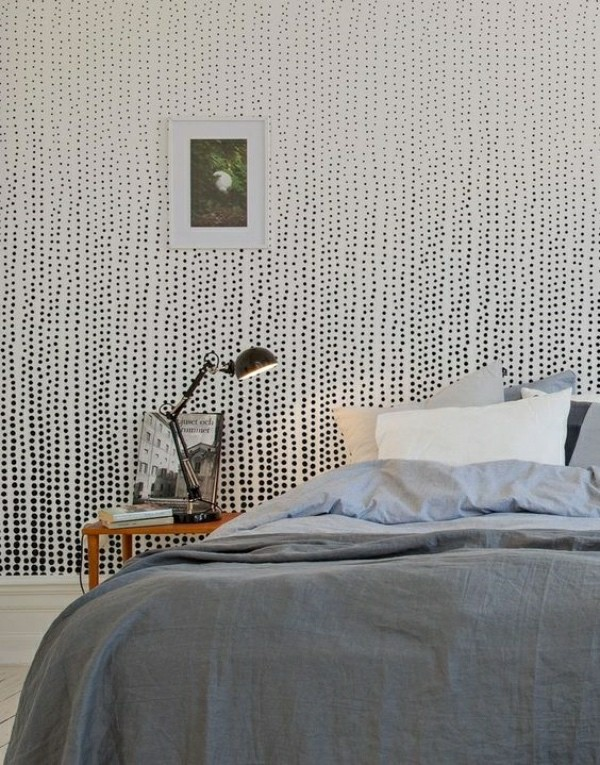 Photo wallpaper bedroom minimalist idea with patterns