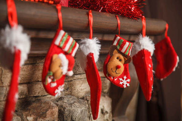 Chimneypiece decorate with stockings St. Nicholas Day