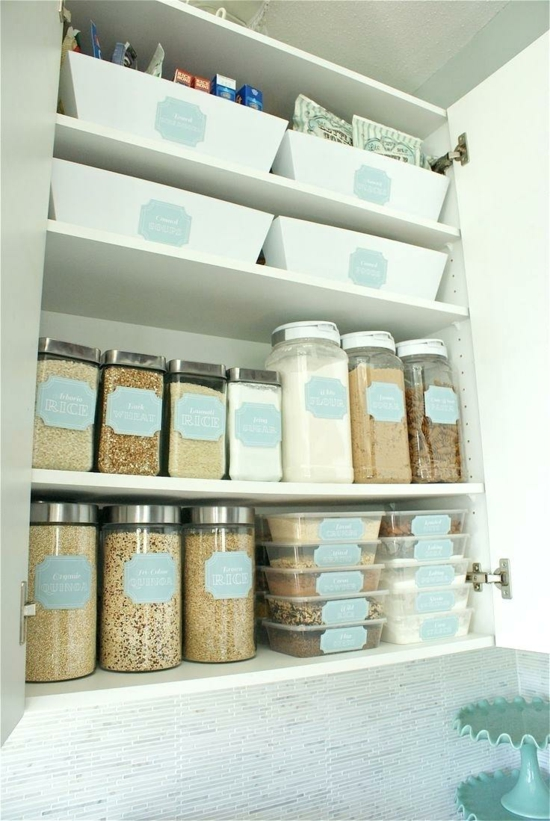small kitchen set up to organize cupboards
