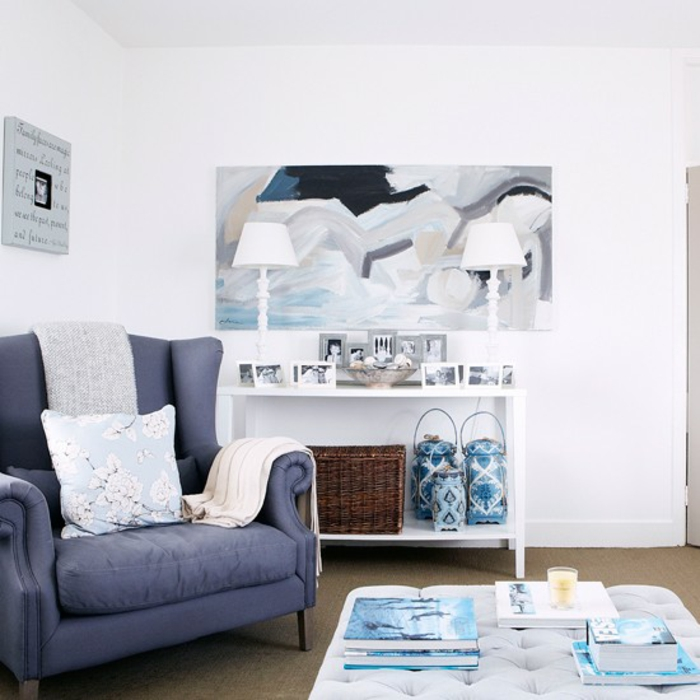 furnishing examples maritime decoration octopus blue living room entrance blue shades of blue