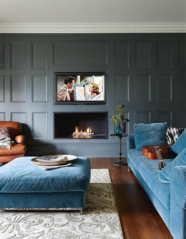 Living room sofa blue design
