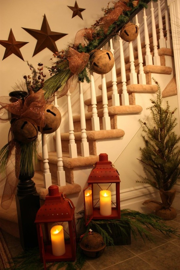 Staircase with DIY wooden Christmas decorations