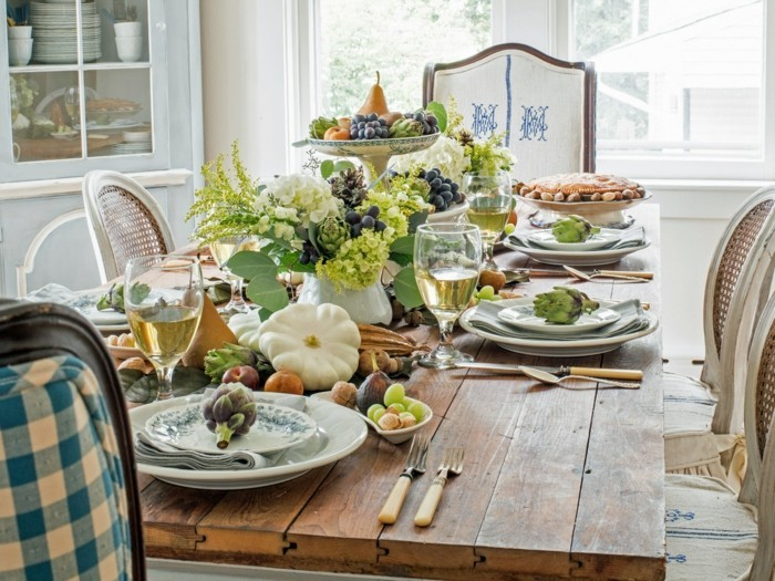 table decoration autumn deco ideas with fruits and pumpkins