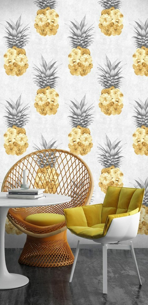 Wallpaper ideas with pineapple for the dining area
