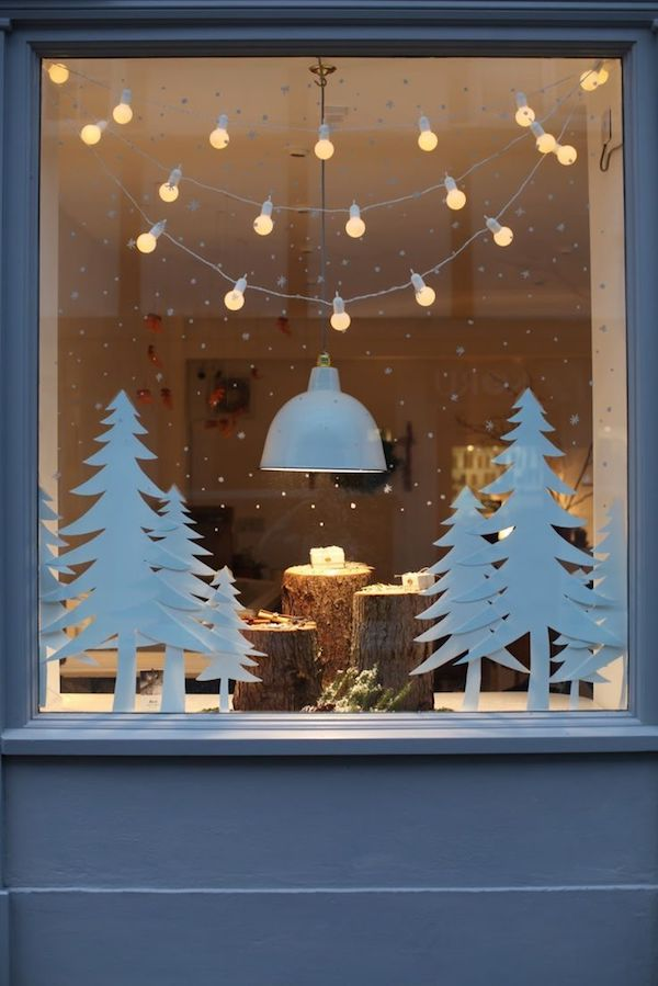 window decoration simple fir trees made of paper