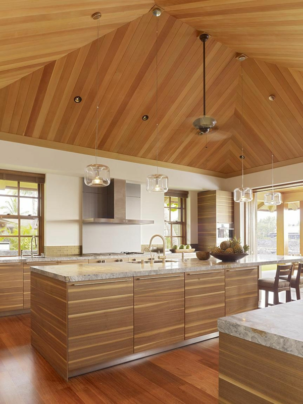 kitchen ceiling panel wood attach ideas
