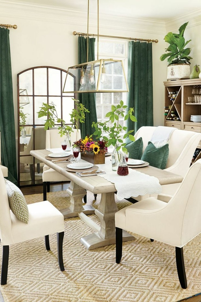 living ideas dining room green curtains create a nice mood in the room