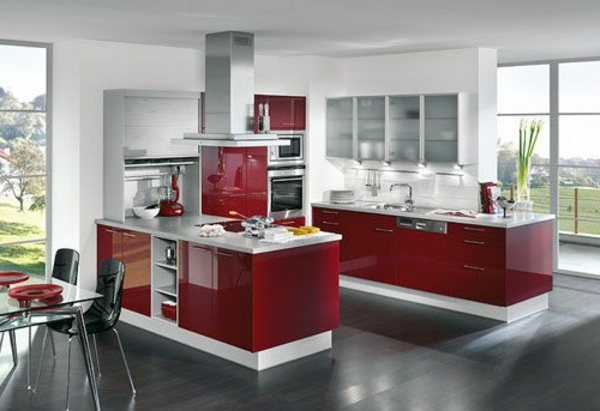kitchen design white red
