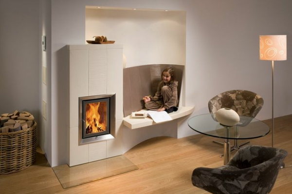 modern tiled living room design furniture fireplace with bench