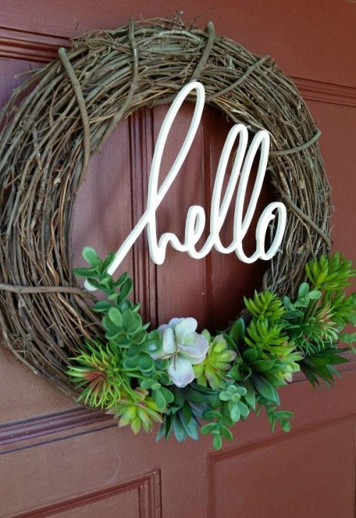 Door wreaths make their own branches sprigs succulents decoration