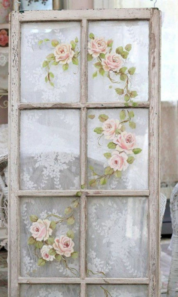 shabby chic deco make yourself with napkin old window
