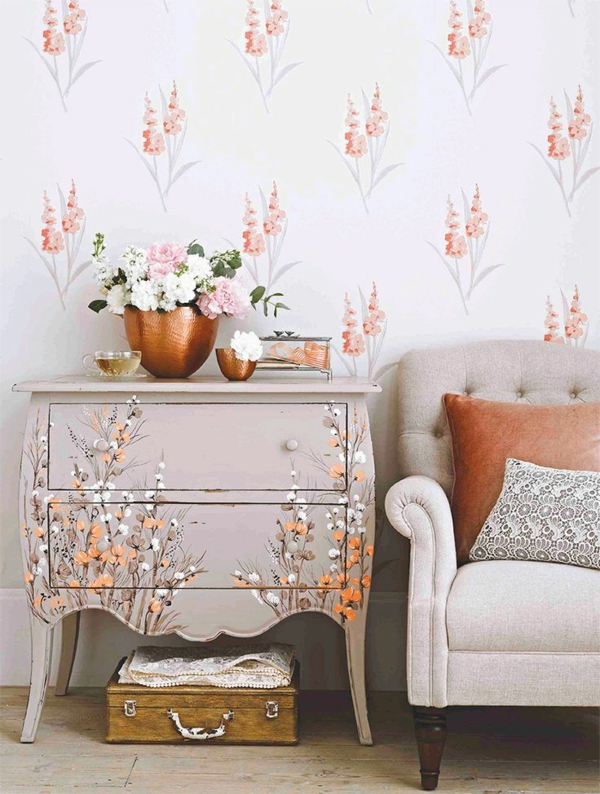 armchair dresser flower pattern wallpaper