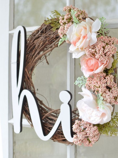 Door wreaths beautiful flowers pink