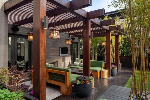 a beautiful terrace with wooden roof