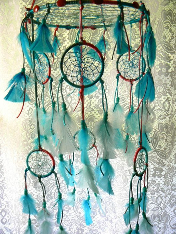 Dreamcatcher make your own blue feathers