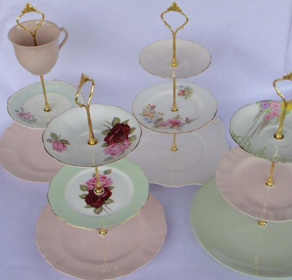 Vintage dish etagere for cupcakes