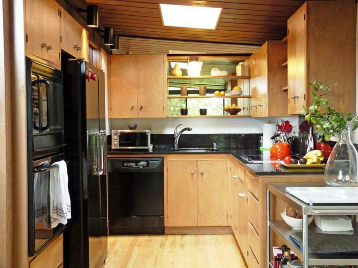 small kitchen set up wooden kitchen cabinets black accents
