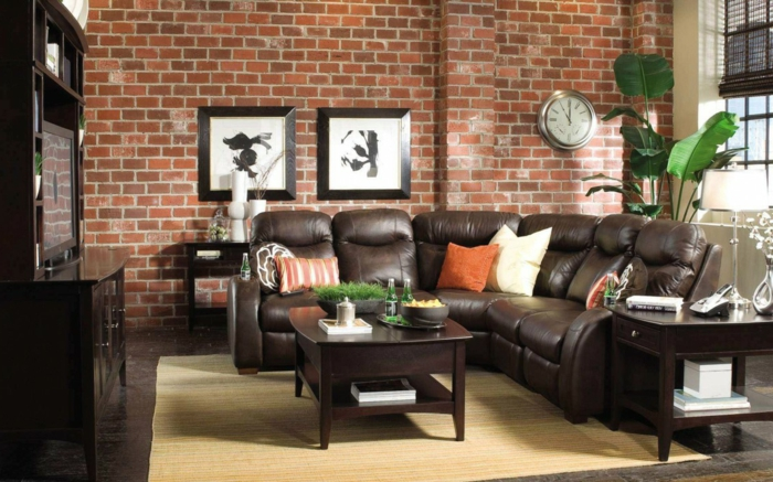Indoor plants living room deco brick wall leather sofa light carpet