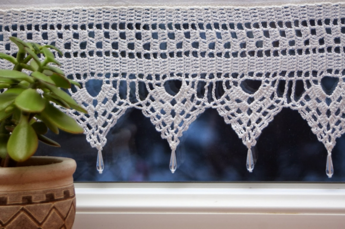 crocheted curtains kitchen window decorating plant