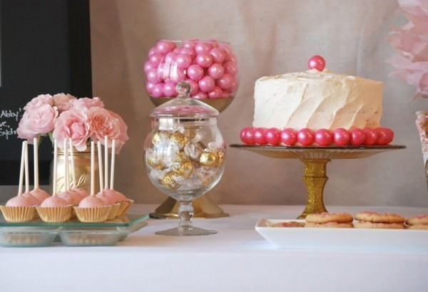 Homemade cake stand gilded with glass plate